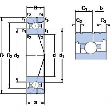 40 mm x 68 mm x 15 mm  SKF 7008 ACB/HCP4AL Rolamentos de esferas de contacto angular
