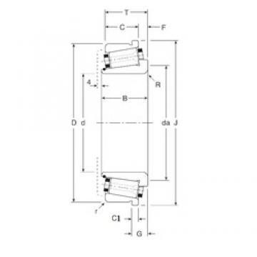 82,55 mm x 133,35 mm x 34 mm  Gamet 126082X/126133XC Rolamentos de rolos gravados