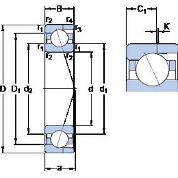 40 mm x 68 mm x 15 mm  SKF 7008 ACD/HCP4AH Rolamentos de esferas de contacto angular